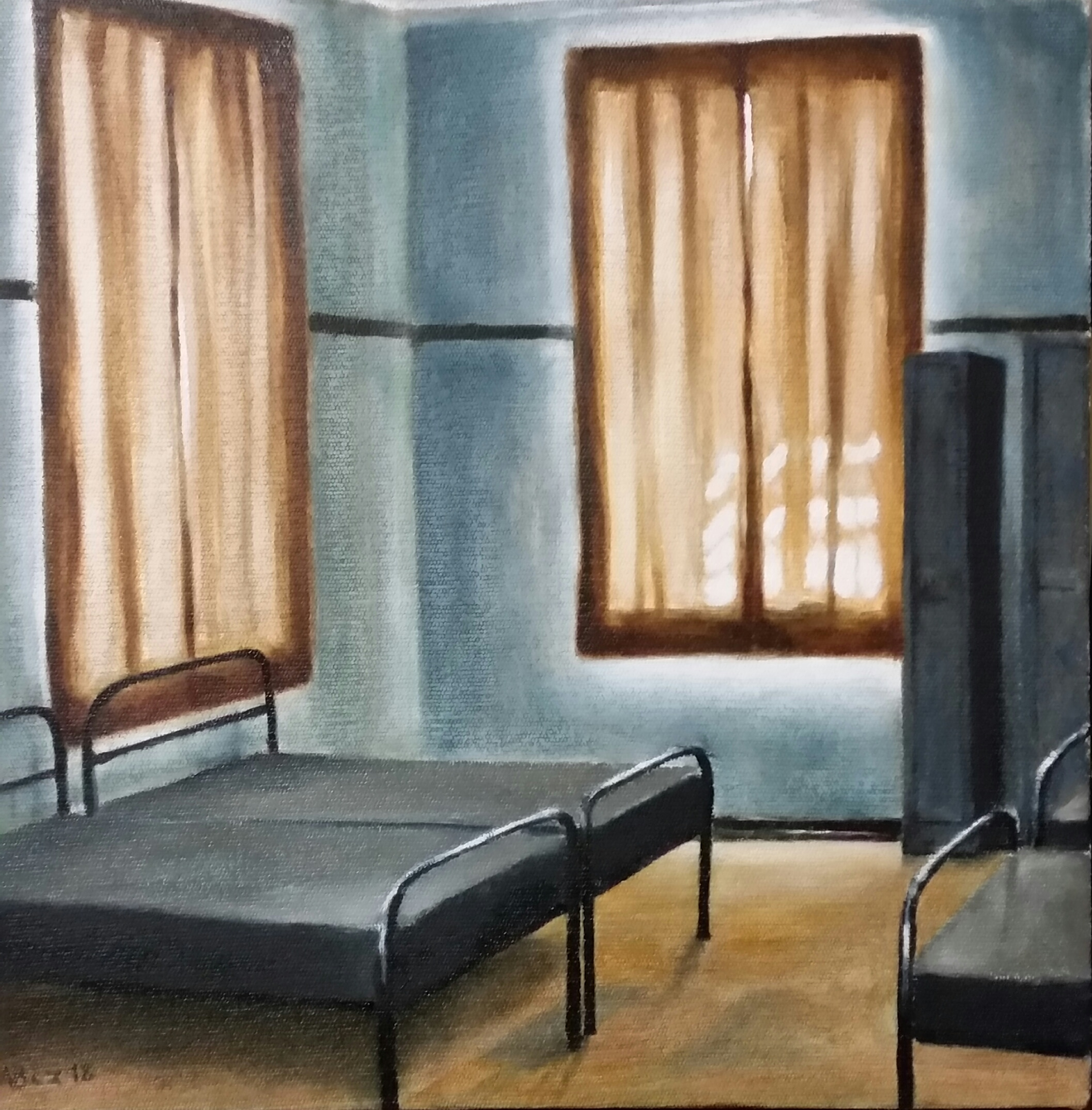 """""""Healdtown Dormitory, after the renovations"""", oil on canvas, 30x30cm"""