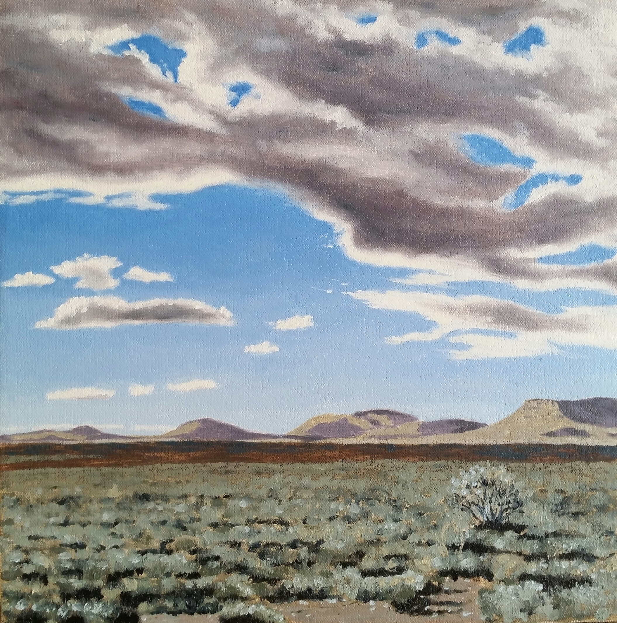 """""""Stilhou tussen Graaff-Reiner en Pearston"""", oil on canvas, 30x30cm."""