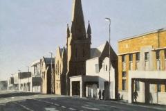 "Sondagmiddag, Oxfordstraat, Oos-London"", oil on canvas, 30x30cm."