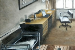 """""""Office with Wassily Chairs, University of Fort Hare"""", oil on canvas, 30x30cm"""