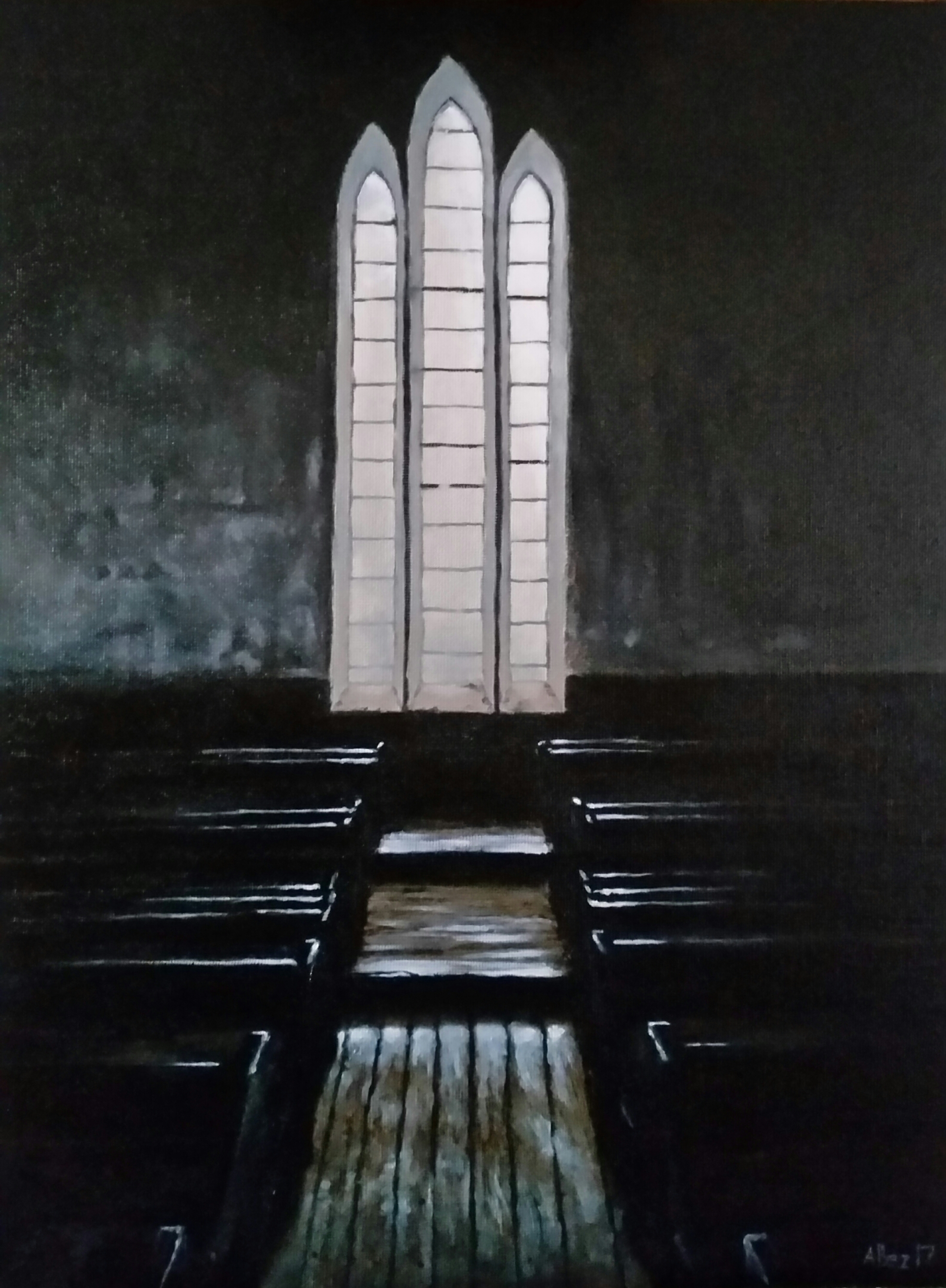 """Healdtown, Methodist Church Interior"", olie op bord, 405x305mm"