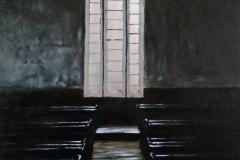 """Healdtown, Methodist Church Interior"", olie op bord, 405x305mm"