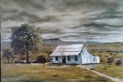 """""""Schreiner-huis, Hertzog sendingstasie, Oos-Kaap"""", olie op doek, 507x612mm"""