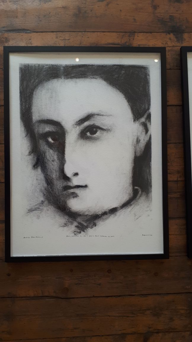 One of the drawings, framed.