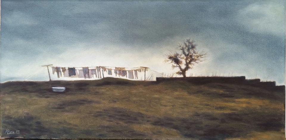 """Wasdag in Observatory, Johannesburg"", oil on canvas, 2015, 25x51cm."