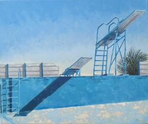 """Openbare swembad, Brandvlei"", olie op doek, 51x61cm, 2015, R9 500"